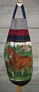 Plastic Grocery Bag Rag Sock Holder Horses Yearlings Chestnut Gray Barn Handmade