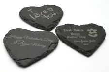 Personalised Slate Heart Coaster Valentine Mother Day Birthday Anniversary Gift