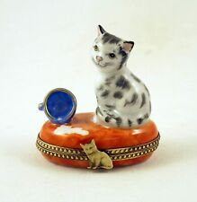 New Hand Painted French Limoges Trinket Box Gray Kitty Cat & Cup of Spilled Milk