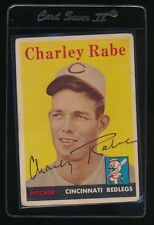 SIGNED CHARLEY RABE 1958 TOPPS #376 RC AUTO AUTOGRAPH CINCINNATI REDS