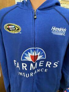Kasey Kahne Full Zip Up Hoodie Men's Large Sponsor Farmers Ins.