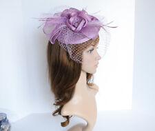 NEW Church Derby Wedding Sinamay & Feather & Veil Fascinator Lavender C-VF651
