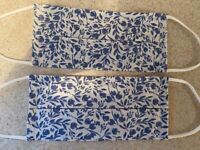 2 Face masks white & blue floral print Pleated with pocket for filter adult