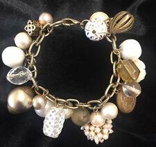 Vintage White & Gold Tone Bangle Charm Bracelet Retro