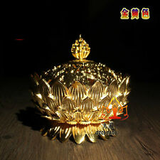Buddhist Buddha Gilding Lotus 8 Symbols Censer Incense Holder Burner Family Hall