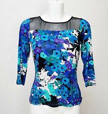 W at BHS viscose Jersey Blue floral black mesh high crew neck 3/4 top blouse 8