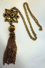 Vtg Enameled & Black Glass Bead Pendant Necklace w/ Tassle Marked Denise