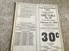 1938 Frisco Railroad Employee Timetable Eastern Division