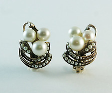 Retro Cultured Pearl & Seed Pearl Earrings 14k Yellow Gold Clip On