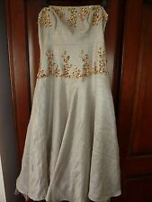 Marks and Spencer Autograph cream strapless ballgown with amber jewels. Size 12