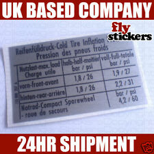 VW MK1 Golf GTI Tyre Pressure Sticker 257A