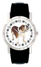 Bulldog Puppy Dog Paw Mens Ladies Genuine Leather Band Quartz Wrist Watch SA2217