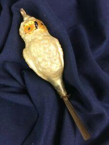 Vintage German Mercury Glass Owl Christmas Ornament Spun Glass Tail