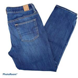 American Eagle Womens Sz 8 Blue Stretch Slouchy Mid Rise Medium Wash Denim Jeans