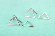 925 Sterling Silver Women Jewelry Double Triangle Elegant Ear Stud Earrings