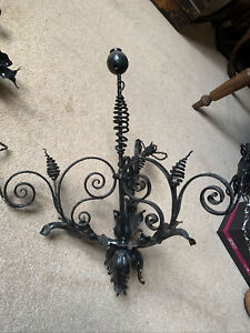 Antique black wrought iron chandelier 1930s
