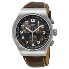 Swatch Your Turn Brown Leather Mens Watch YOS413