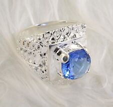 Sz 8 Ornate Silver Plate RING with NATURAL AQUAMARINE Setting 13g BRAND NEW