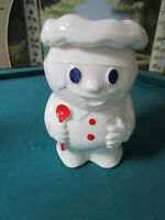 McCOY Pillsbury Poppin Fresh Dough Boy Cookie Jar 1970S w/apron BOBBY THE BAKER