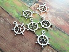 10 Ship Wheel Charms Pendants Antiqued Silver Nautical Charms Ship Charms Helm