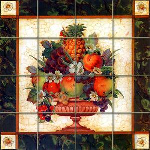 Art Fruit Flowers Vase Tumbled Marble Mural Backsplash Bath Tile #1215