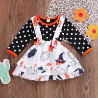 Toddler Baby Girls Pumpkin Halloween Flare Sleeve Cartoon Print Dress Clothes