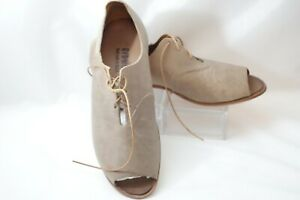 Womens CYDWOQ Leather Oxford Slip On Peep toe  Lace up Size 8.5 EU 39  Leather
