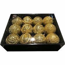 PMS Snow White Luxury Bauble Set of 12 in Gold