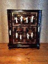 More details for exquisite black & gilt lacquer oriental cocktail cabinet