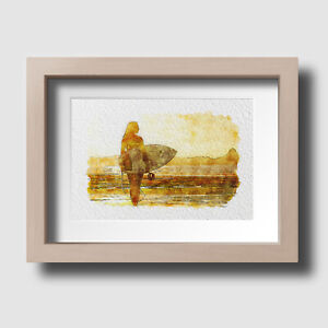 Surfer In Beach Sunset Newquay Cornwall Watercolour Wall Art Picture Unframed