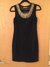 Black Dress Gold Statement Necklace Mini Spikes Sleeveless Short Tight Sheer M