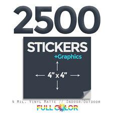 "2500 Custom Quality Vinyl STICKERS + FREE Graphics & Shipping (4"" x 4"") Square"