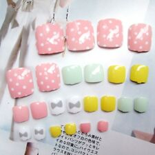 24Pcs Candy Color False Toe Nails Short Nail Art Tips Acrylic Holiday Cute Pro