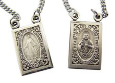Sacred Heart Our Lady Mt Carmel Sterling Silver Scapular w Miraculous Medal Back