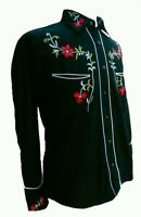 RELCO BLACK RED COWBOY ROCKABILLY LINE DANCING WESTERN EMBROIDERED SHIRT