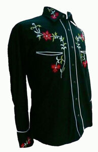 RELCO BLACK RED COWBOY ROCKABILLY LINE DANCING WESTERN EMBROIDERED SHIRT S to3XL