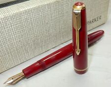 1960'S PARKER DUOFOLD  FOUNTAIN PEN - MAROON - 14K GOLD MED SMOOTH FIRM BOXED