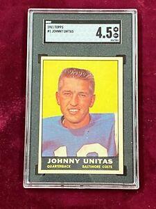 1961 Topps #1 JOHNNY UNITAS Baltimore Colts SGC 4.5 VG-EX+ ~SC03-581