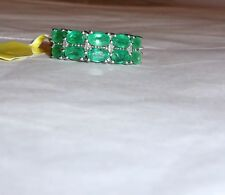 AFRICAN GREEN EMERALD OVAL & DIAMOND BAND RING, 925 SILVER, SIZE 6, 2.15(TCW)