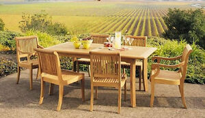 """Giva A-Grade Teak 7pc Dining 71"""" Rectangle Table 6 Chair Set Outdoor Patio New"""