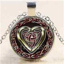 Celtic Heart  Photo Cabochon Glass Tibet Silver Chain Pendant  Necklace