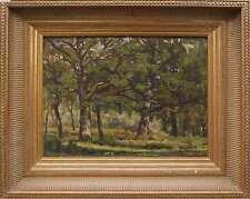 Tableau XIX° la Forêt de chênes arbres clairière touche impressionniste + cadre