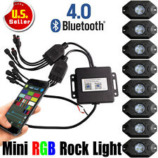 8 x Bluetooth Mini RGB LED Rock Lights Pod 4x4WD Multi-Function offroad Vehicle