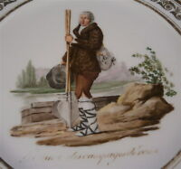 Antique French Feuillet Paris Porcelain Scenic Plate Porzellan Teller Scene