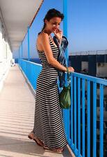 New Look Nautical Stretch Maxi Dress Navy & White Stripe Racer Back Size 10
