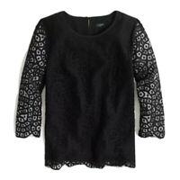 J Crew Factory Women's 3/4 Sleeve Blouse Scalloped Lace Shirt Top Black 10