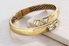 ❤️ Silpada K&R Cobra Gold Hinge Cuff Bangle Bracelet KRB0077 Swarovski Crystals
