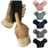Womens Ladies Faux Suede Soft Warm Cosy Winter Gloves Cosy Liner & Faux Fur Cuff