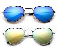 Heart Shape Kids Aviator Sunglasses Colorful Flash Mirror Lens UV100% Boys Girls