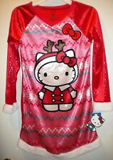 NWT Sanrio Hello Kitty Girls Christmas Gown, SZ 7-8, Flame Resist, Red, Sparkly